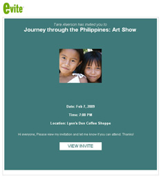 Image of the February 2009 evite for Tara C. Alverson's Journey through the Philippines: Art Show