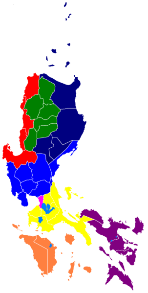 Map of Luzon, showing Regions