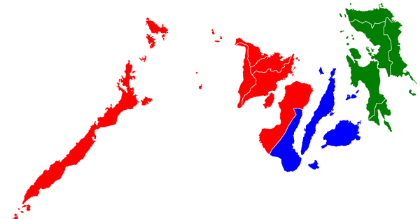 Map of Visayas, showing Regions