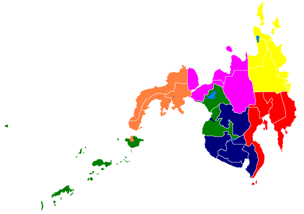 Map of Mindanao, showing Regions