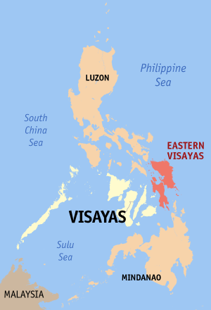 Map of Philippines showing Eastern Visayas