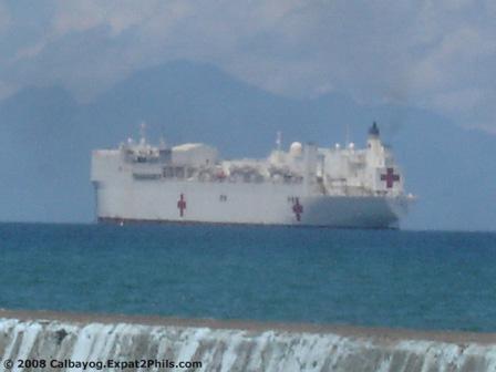USNS Mercy off coast at Calbayog, Samar