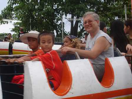 Riding with the kids at the Calbayog Festival