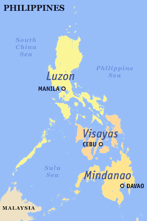 Map of the Philippines showing the three Island Groups of Luzon, Visayas, and Mindanao.